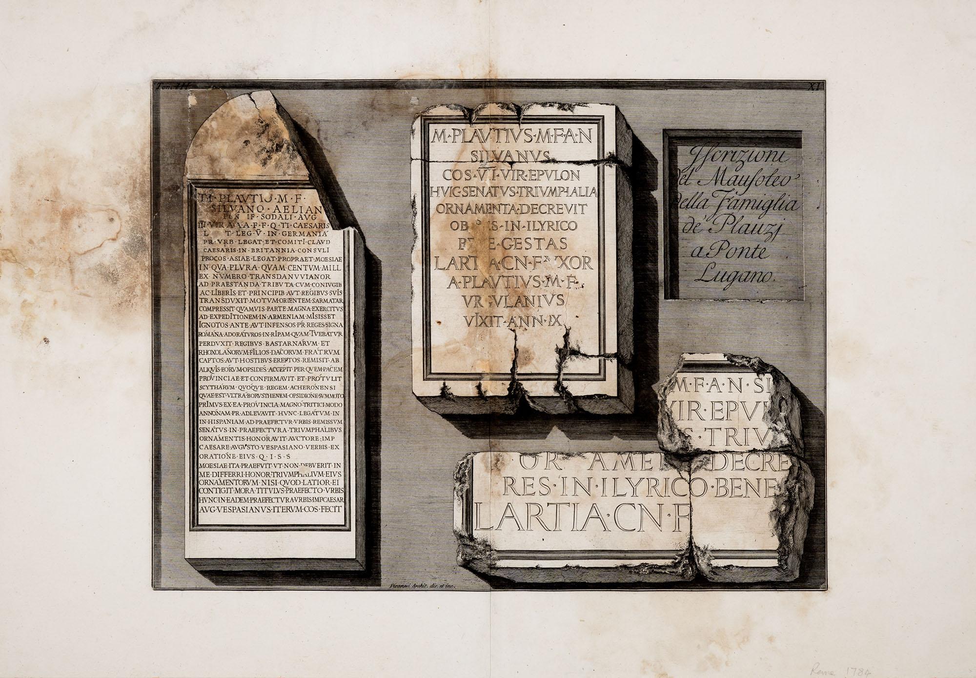 Iscrizioni del Mausoleo della famiglia de' Plauzi a Ponte Lugano