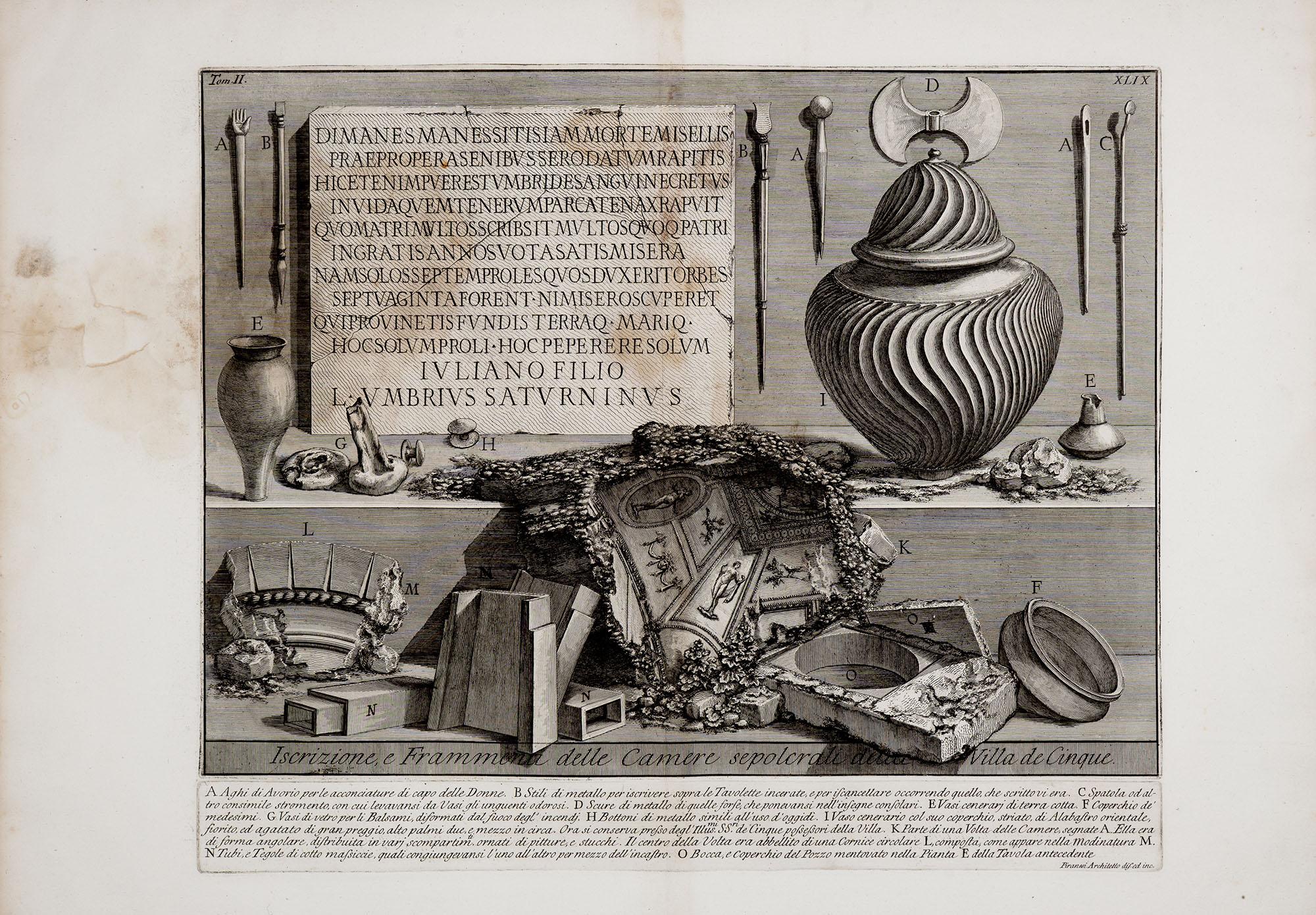 15. Iscrizione e Frammenti delle Camere sepolcrali della Villa de Cinque