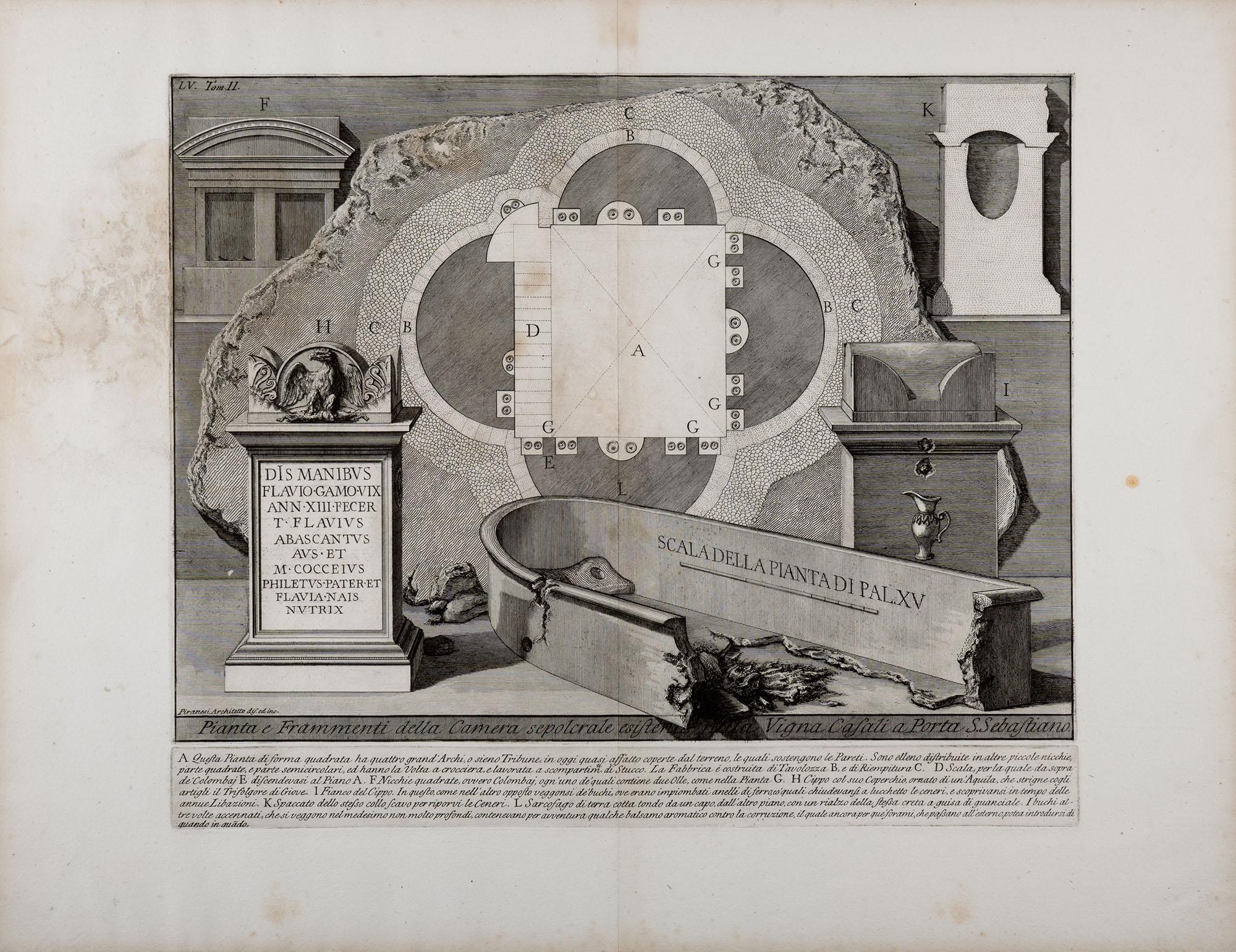 16. Pianta e Frammenti della Camera sepolcrale esistente nella Vigna Casali a Porta S. Sebastiano