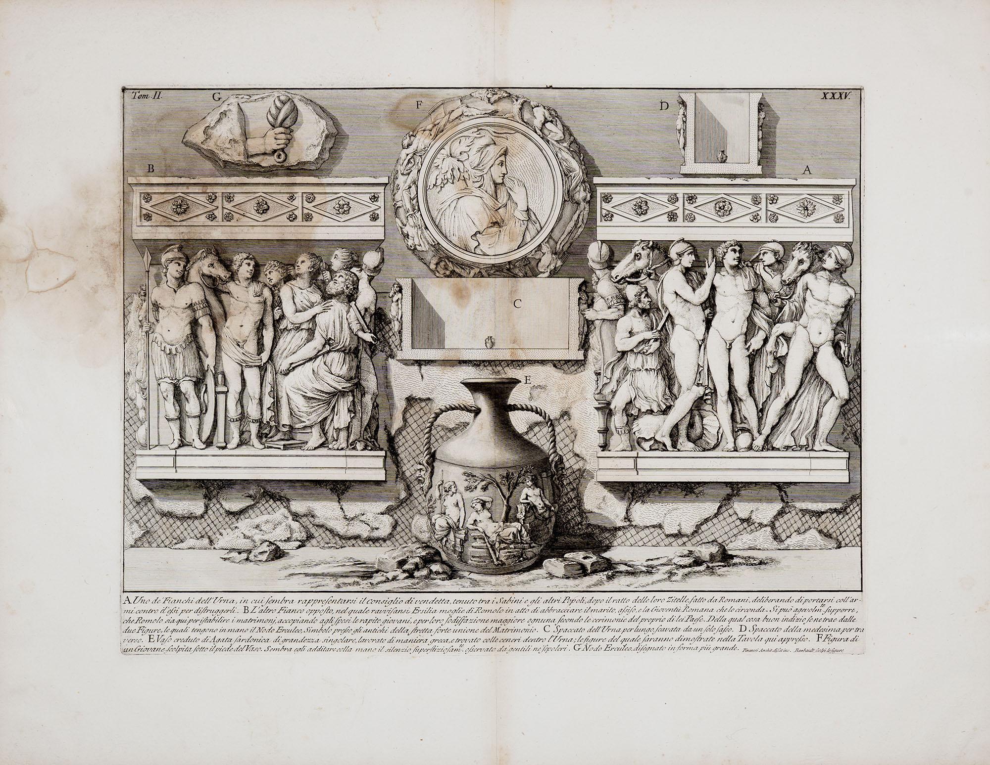 30. Uno de' Fianchi dell'Urna, in cui sembra rappresentarsi il consiglio di vendetta tenuto tra i Sabini e gli altri Popoli...