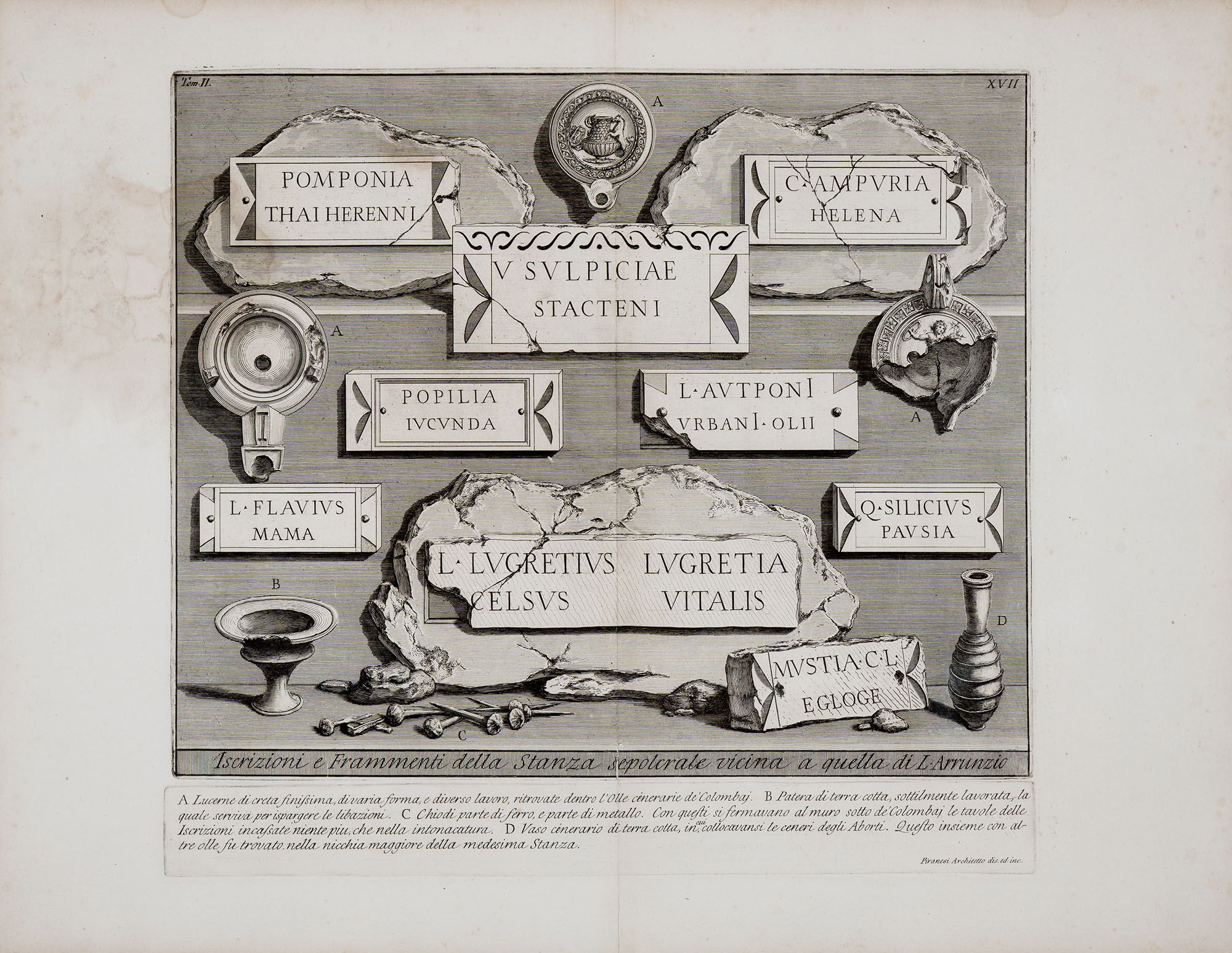 32. Iscrizioni e Frammenti della Stanza sepolcrale vicina a quella di L. Arrunzio