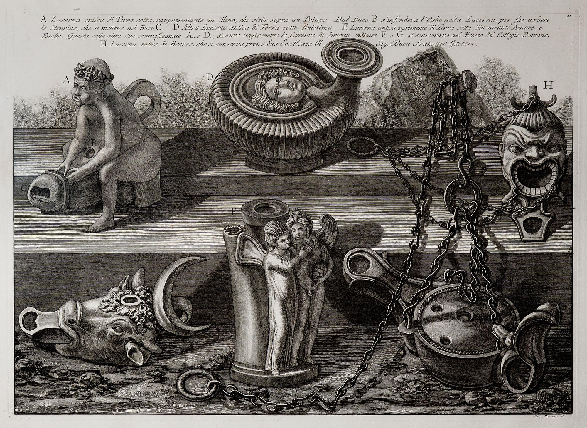 4. Lucerna antica di terra cotta, rappresentante un sileno, che siede sopra un Priapo