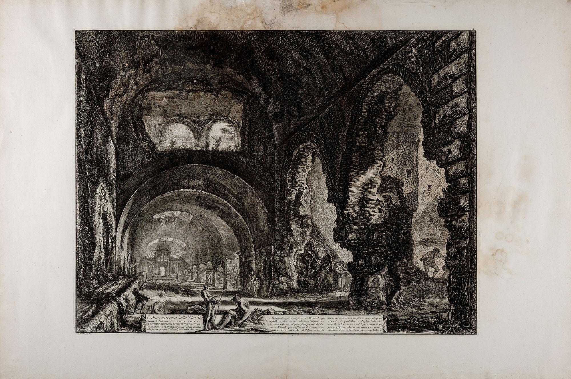 5 Veduta interna della Villa di Mecenate Vedute di Roma 1748-1778 Aguafuerte